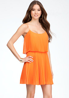 bebe Tiered Pleated Dress
