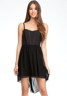 bebe High Low Woven Dress