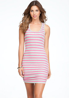 bebe Logo Racerback Stripe Tank Dress