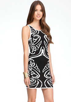 bebe Keyhole Jacquard Dress - ONLINE EXCLUSIVE