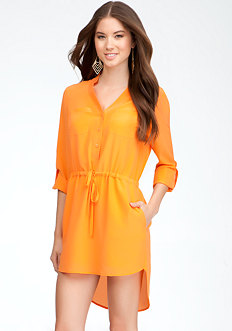 bebe Patch Pocket Shirt Dress