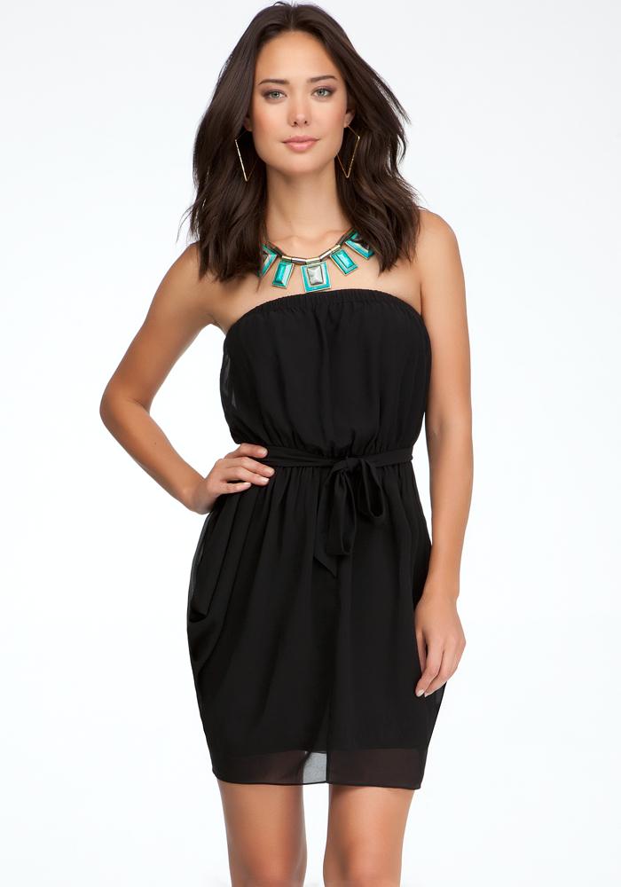 Strapless Drape Skirt Dress