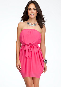 bebe Strapless Drape Skirt Dress