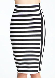 bebe Mixed Stripe Midi Knit Skirt