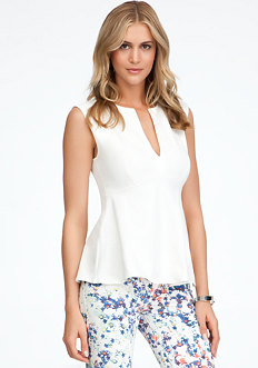bebe Deep V Sleeveless Peplum Top - ONLINE EXCLUSIVE