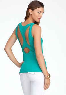 bebe Racerback Cutout Boat Neck Top