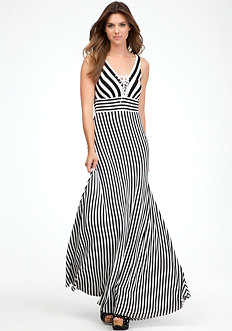 bebe Tie Front Stripe Maxi Dress - PETITES