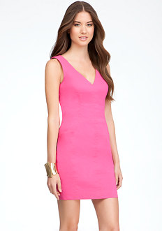 bebe V-Neck Shoulder Dress - PETITES