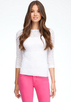 bebe 3/4 Sleeve Lace Top