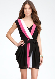 bebe Colorblock Drape Skirt Dress