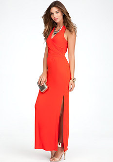 bebe V-Neck Open Back Maxi Dress