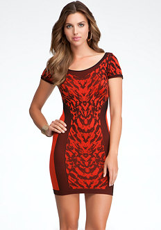 Leopard Jacquard Dress - ONLINE EXCLUSIVE at bebe