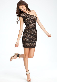 Mixed Lace One Shoulder Dress - ONLINE EXCLUSIVE at bebe