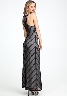 bebe Stripe Mesh Maxi Dress - PETITES