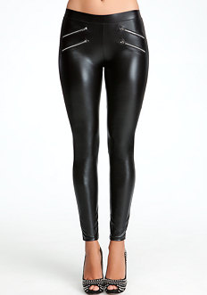 bebe Zipper Wet Legging
