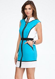 bebe Cinched Waist Mock Collar Dress
