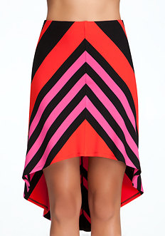 bebe Multi Stripe High Low Skirt