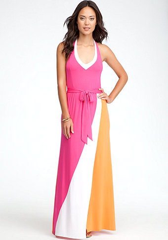 bebe Colorblock Maxi Halter Dress