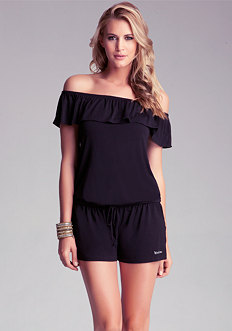 bebe Logo Ruffled Off Shoulder Romper