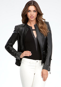 bebe Studded Leather Jacket - ONLINE EXCLUSIVE