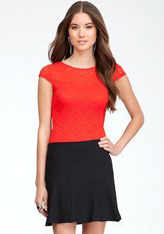 bebe Cap Sleeve Lace Top