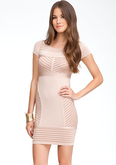 bebe Cap Sleeve Colored Ottoman Dress