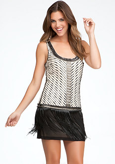 bebe Fringe Hem Dress