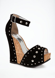 bebe Imelda Studded Lacquered Cork Wedge - ONLINE EXCLUSIVE