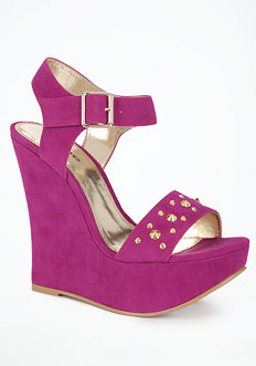bebe Heather Self Wrap Studded Wedge - ONLINE EXCLUSIVE