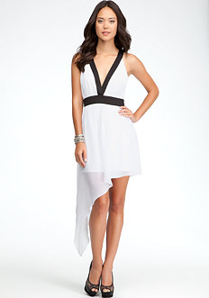 bebe Asymmetric Colorblock Dress