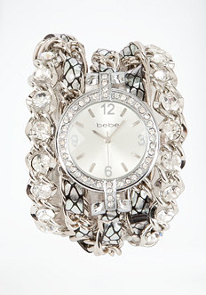 bebe Rhinestone & Chain Snake Watch