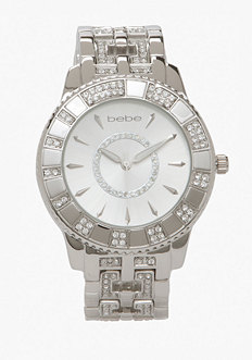 bebe Round Crystal Dial Watch