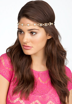 bebe Chain & Rhinestone Soft Headband