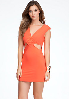 Reversible V-Neck Cutout Dress at bebe