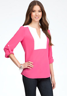 bebe Colorblock V-Neck Tunic