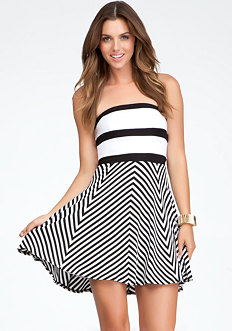 bebe Stripe Fit & Flair Dress