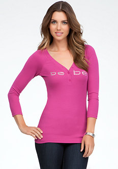 bebe Logo V-Neck Henley Top