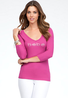bebe Logo Sweetheart Neck Top
