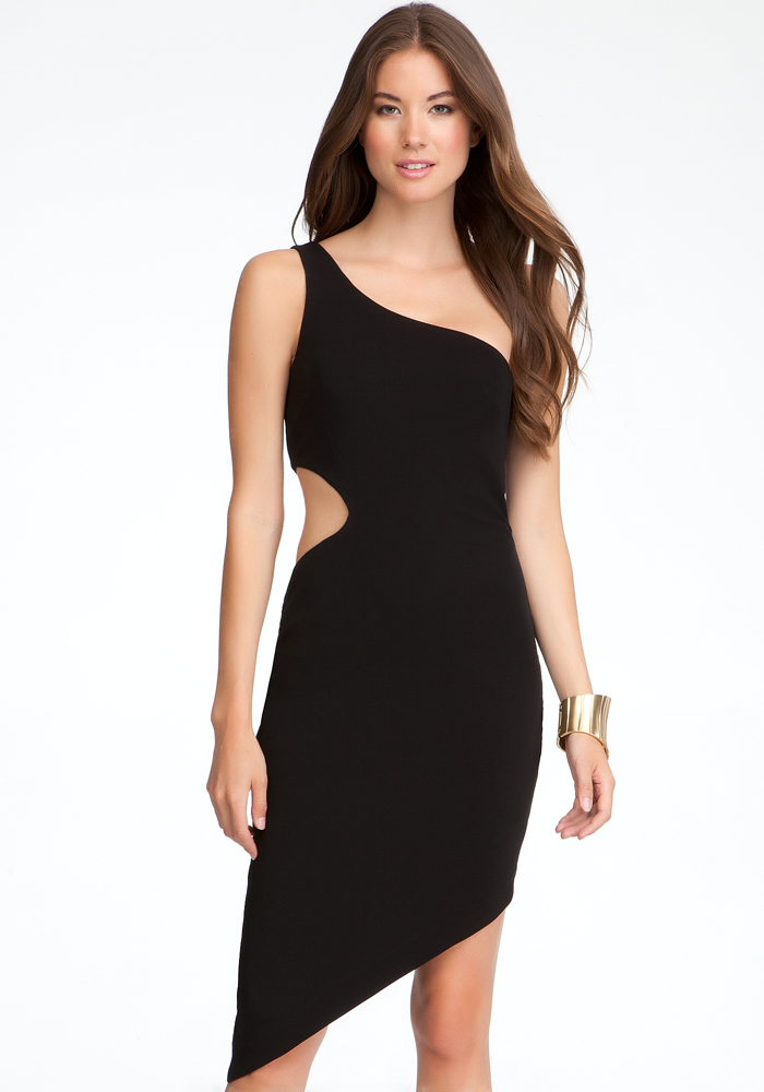 One Shoulder Cutout Asymmetric Dress