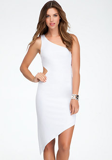 bebe One Shoulder Cutout Asymmetric Dress