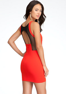 bebe Mesh Open Back Sweetheart Dress