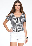 bebe Striped Cold Shoulder Knit Top