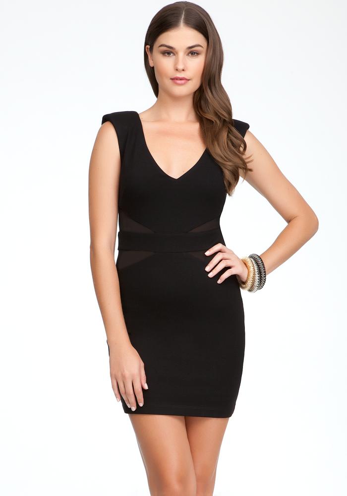 V-Neck Mesh Side Inset Dress