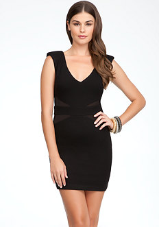 bebe V-Neck Mesh Side Inset Dress