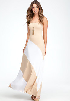 bebe Colorblock Strapless Maxi Dress - PETITES