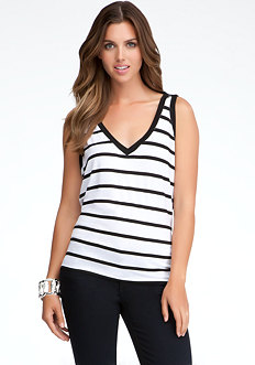 bebe Sleeveless Drape Back Top