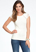 bebe Lace Contrast Panel Top