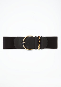 bebe Leather Chain Detail Belt