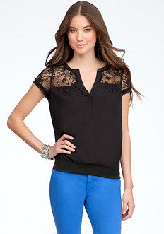 bebe Deep V-Lace Contrast Silk Top