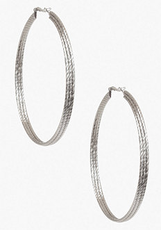 bebe Textured Overlapping Hoop Earrings